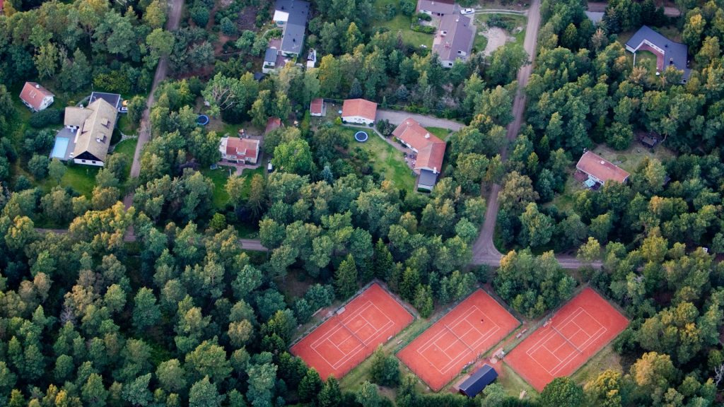 Residential district with tennis court, Skåne, Sweden
