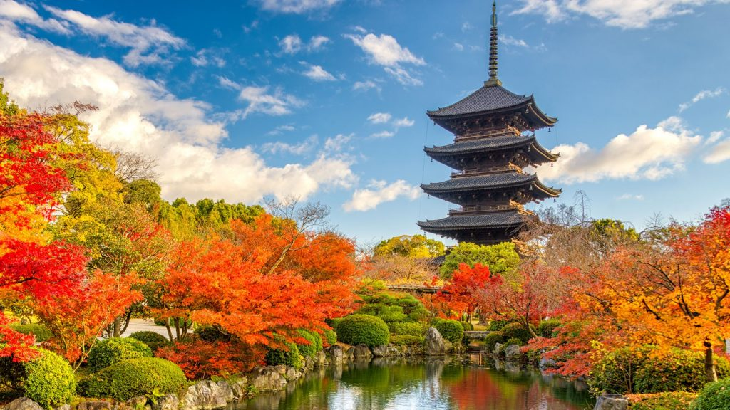 Five-story Pagoda of Tō-ji Shingon Buddhist temple in autumn, Kyoto, Japan