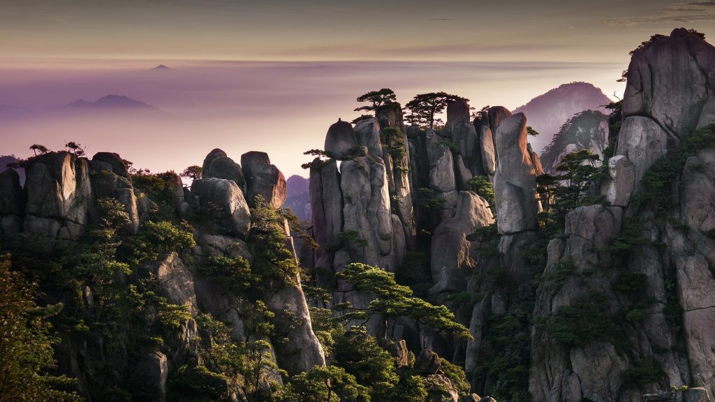 Sunrise in Huangshan yellow mountains, Anhui Province, China