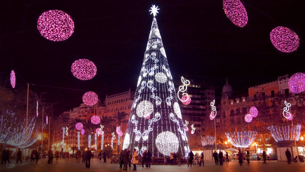 Christmas decoration and illumination in Valencia, Spain
