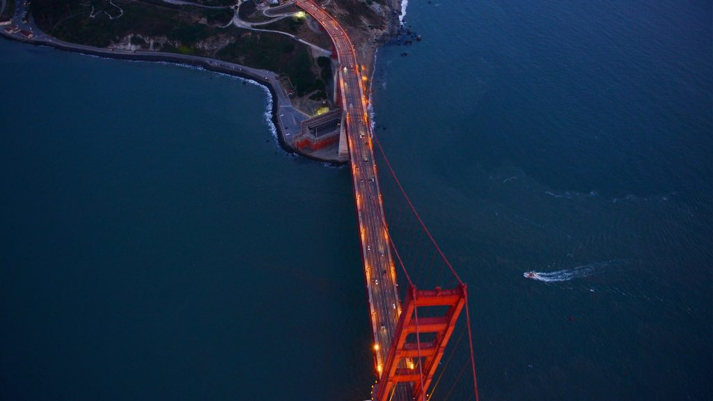 Aerial view of Golden Gate Bridge in San Francisco during sunset, California, USA