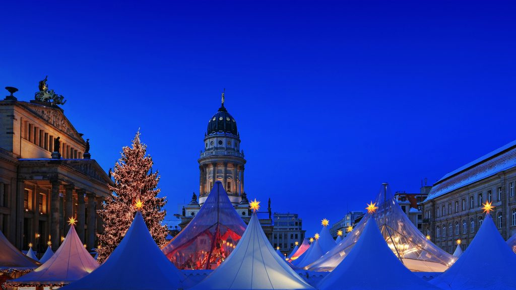 Blue hour at the Christmas market, Gendarmenmarkt, Mitte, Berlin, Germany