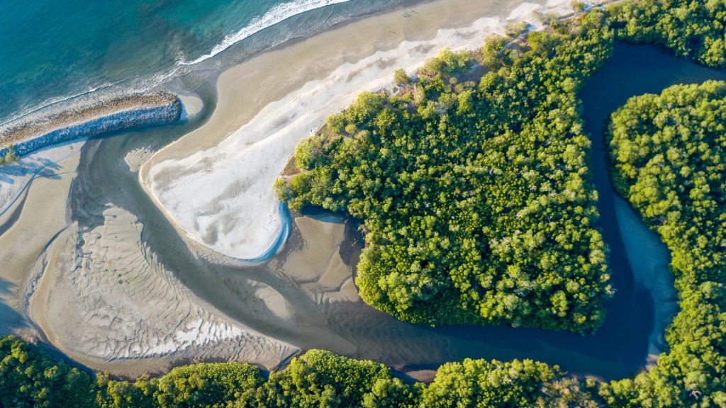 Beautiful aerial view of Cabuyal Beach, Guanacaste, Costa Rica