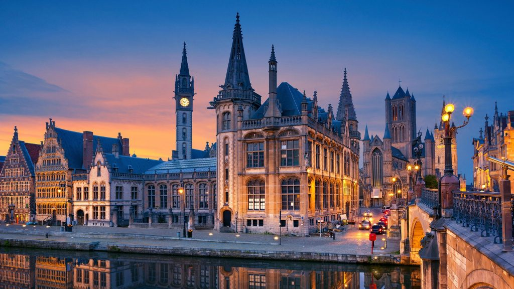 Historical downtown of Ghent during sunset twilight blue hour, Belgium
