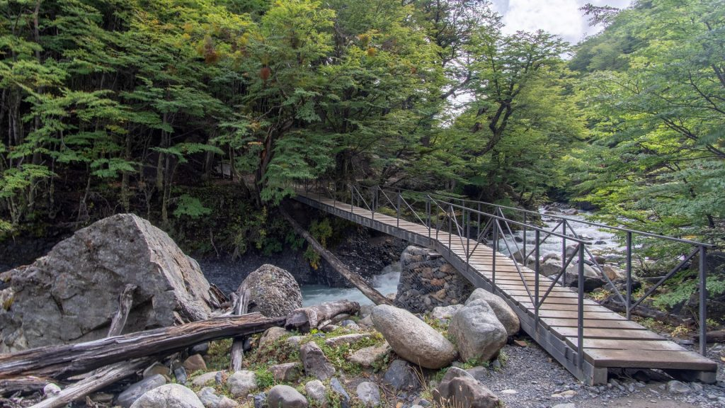 Small bridge over stream, Torres del Paine Trek in Patagonia, Chile