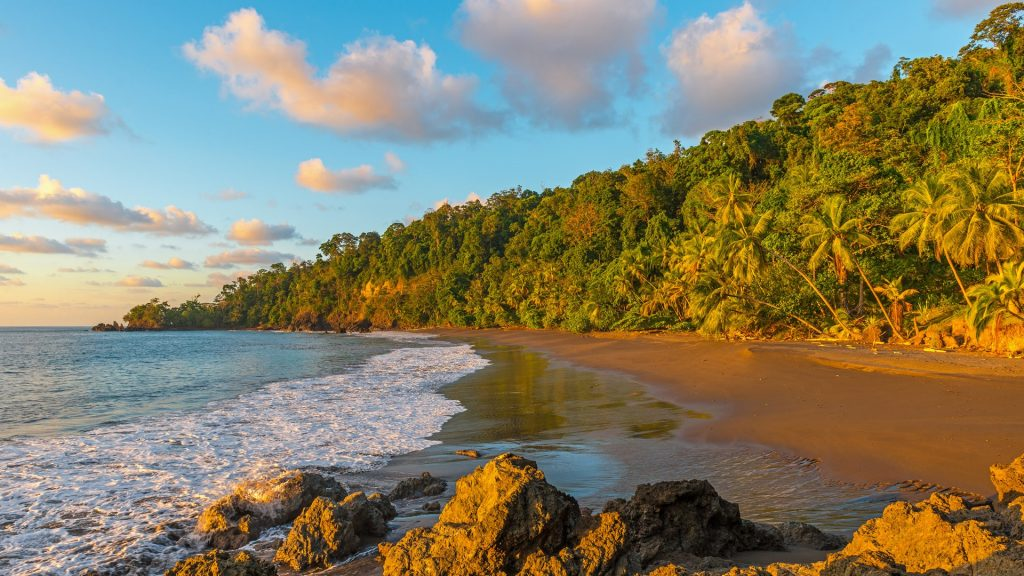 Sunset along the coast of the Osa Peninsula in the Corcovado National Park, Costa Rica