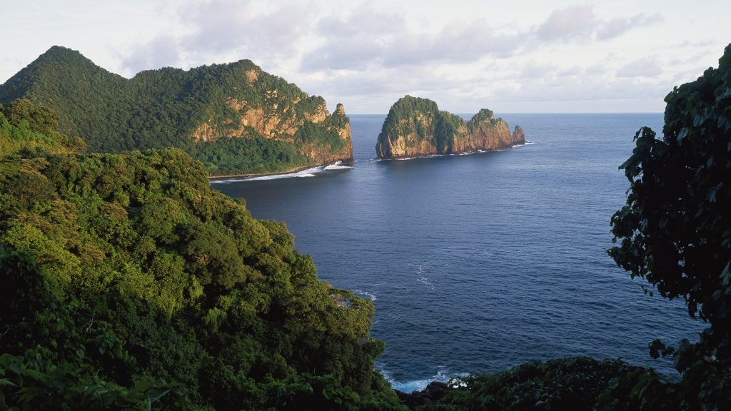 View across the Southeastern coastline of American Samoa