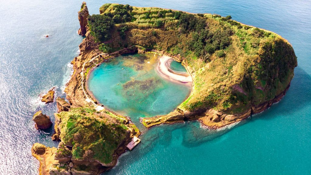 Islet of Vila Franca do Campo aerial view at Sao Miguel island, Azores, Portugal