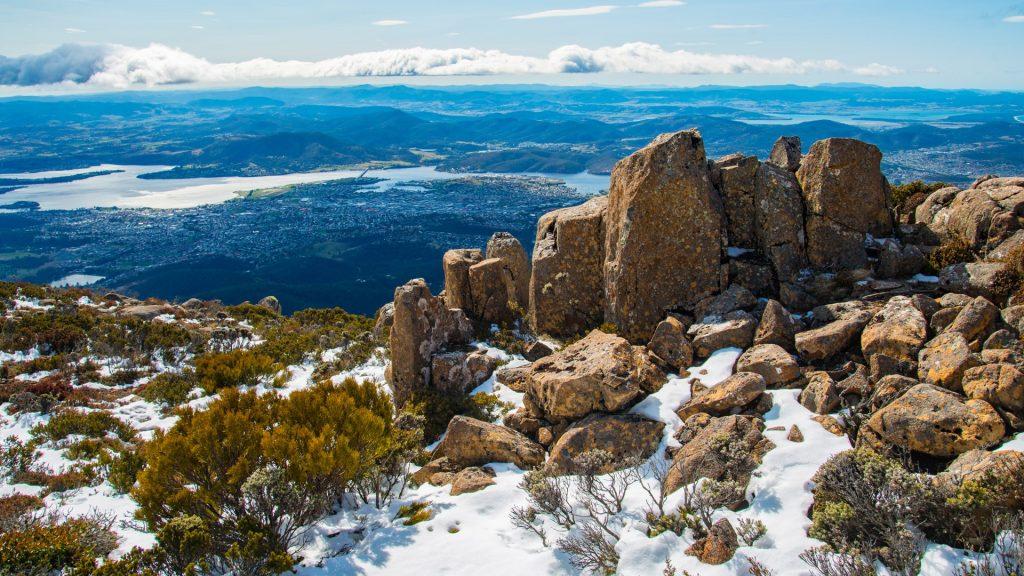 The Pinnacles rock on the top of mount Wellington, Hobart, Tasmania, Australia