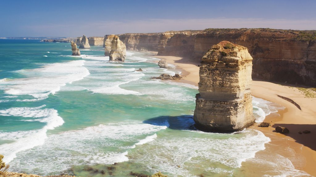 Twelve Apostles limestone stacks off the shore of Port Campbell National Park, Australia