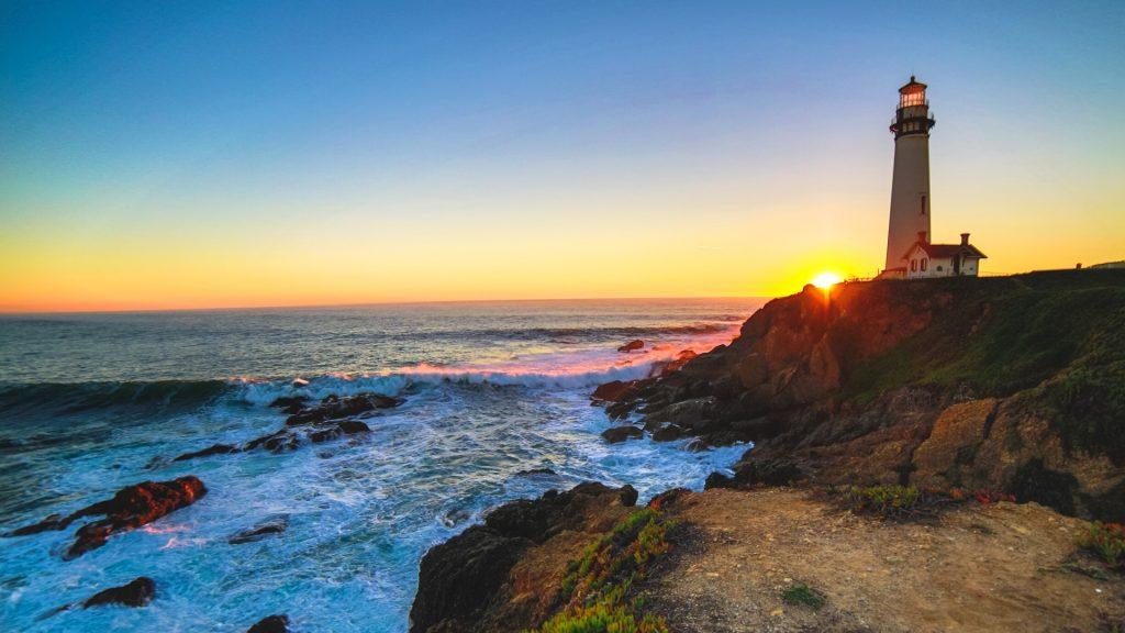 Pigeon Point Lighthouse at sunset, Pescadero, California, USA