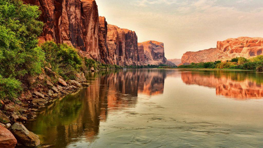 Red rock reflecting along Colorado River near Moab, Utah, USA