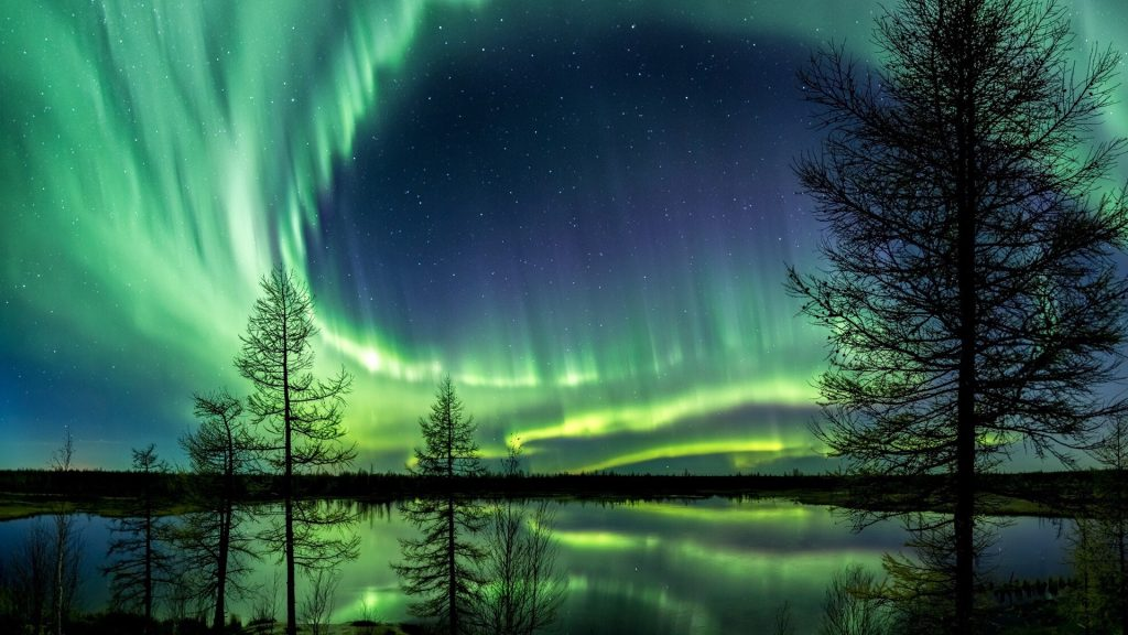 Scenic view of lake against aurora borealis at night, Novyy Urengoy, Russia
