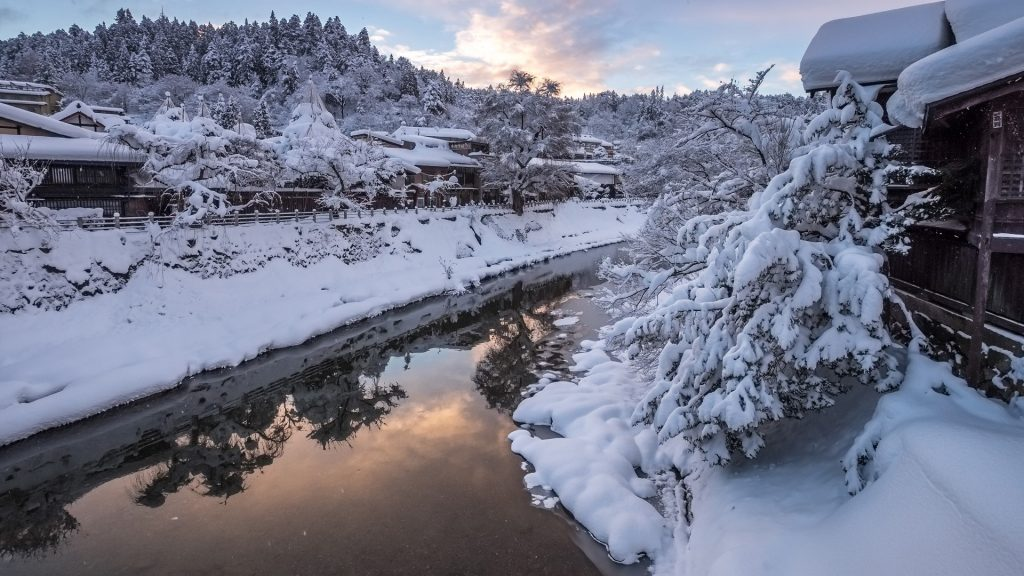Takayama city in the winter, mountainous Hida region of Gifu Prefecture, Japan
