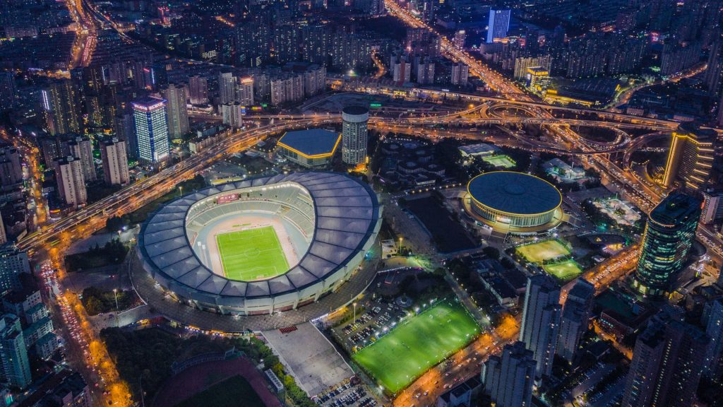 Aerial view of Shanghai stadium in Xuhui district, China