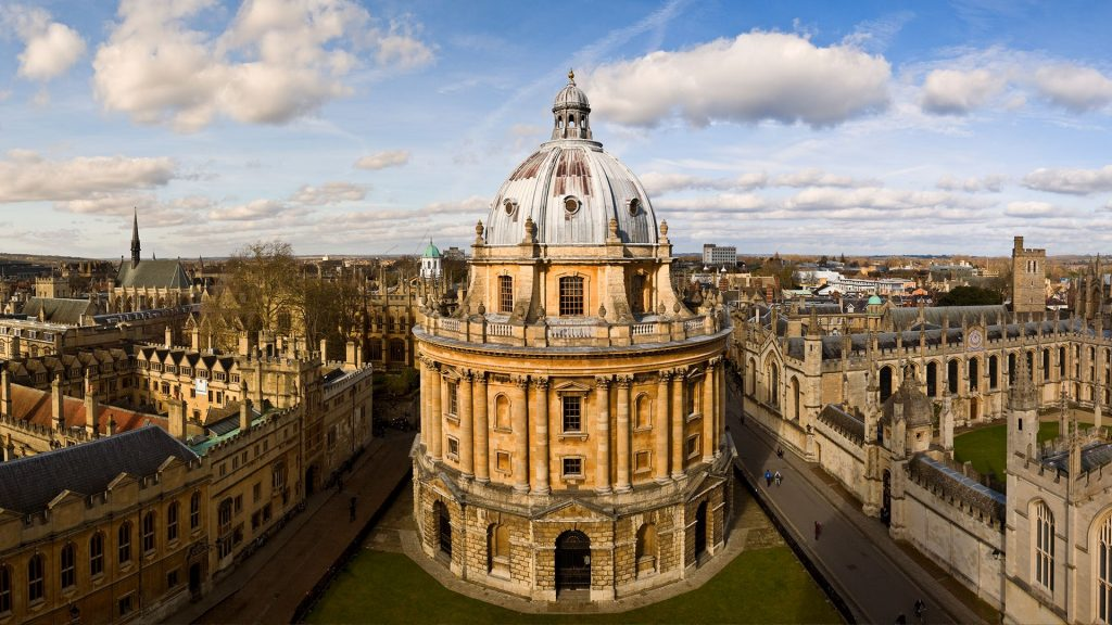Panoramic view of the Oxford skyline and Radcliffe Camera, England, UK