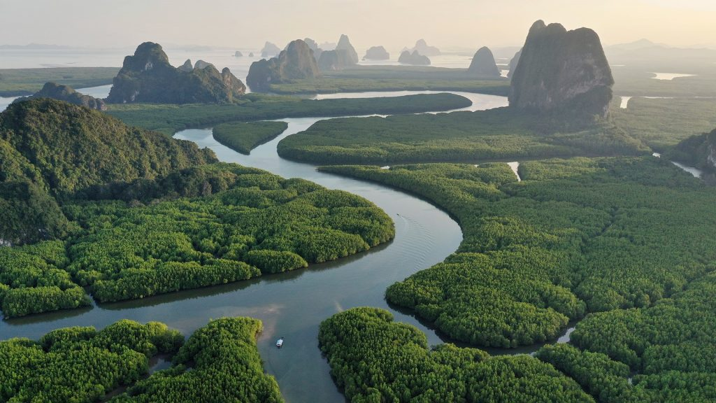 Aerial view of Phang nga bay mountains and rainforest at sunset, Thailand