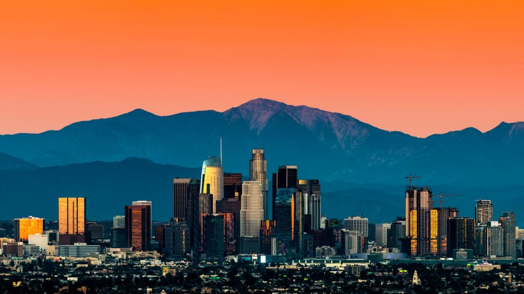 Los Angeles Skyline at sunset classic view, California, USA
