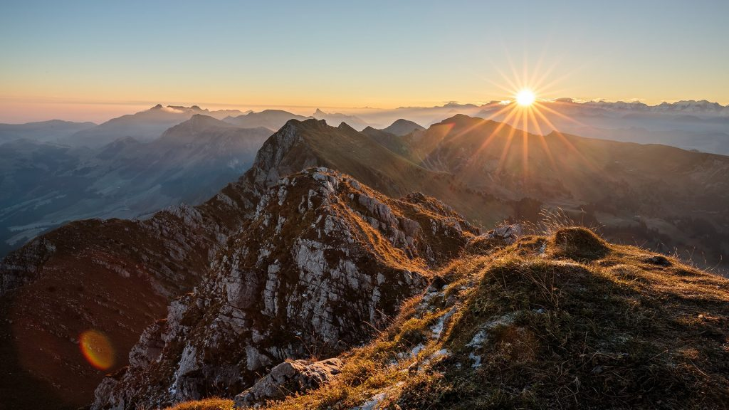 Scenic view of rocky mountains during sunset, Swiss Alps, Switzerland