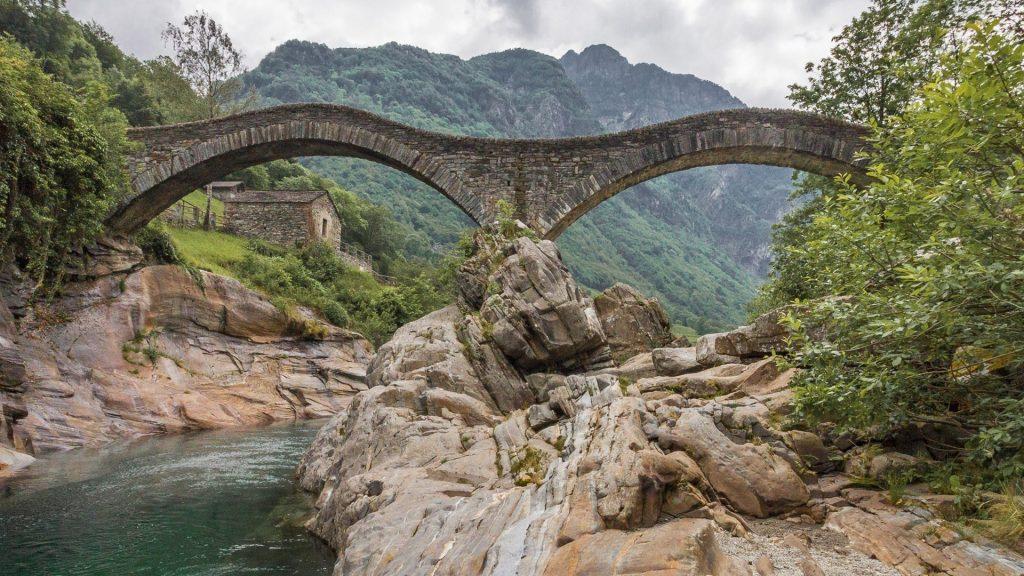Double arch stone bridge at Ponte dei Salti, Lavertezzo, Ticino, Switzerland