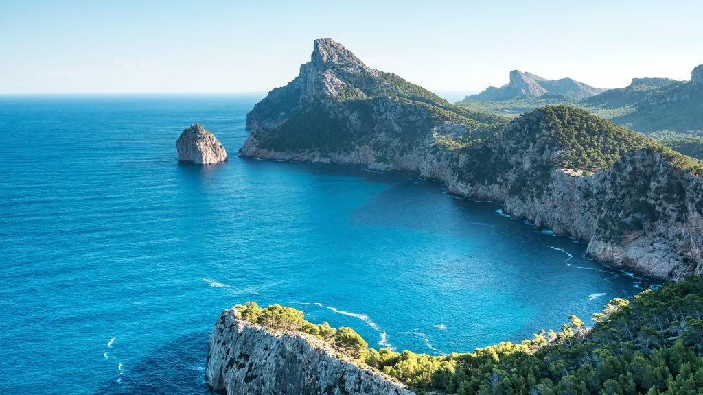 Scenic view of sea against clear blue sky, Cape Formentor on Majorca, Balearic island, Spain