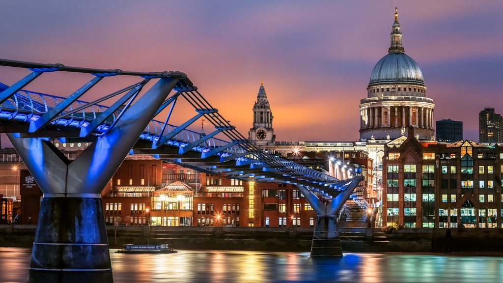 St Paul's cathedral and Millennium bridge at night, South Bank, London, England, UK