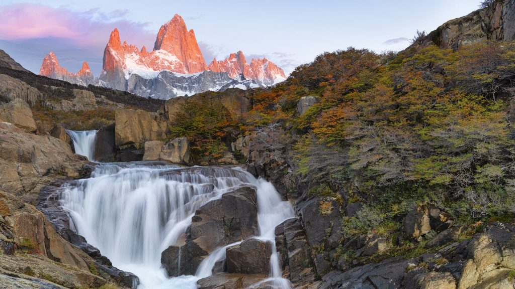 Sunrise at Secret waterfall on Arroyo del Salto river, Glaciares, Patagonia, Argentina