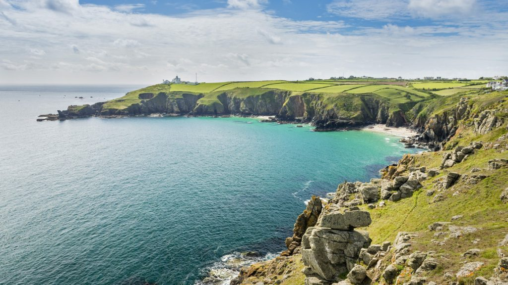 Housel Bay and lighthouse at Lizard Point, Cornwall, England, UK