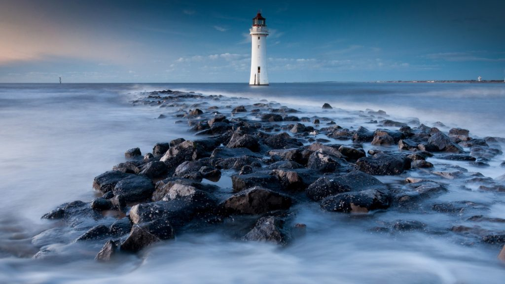 New Brighton Lighthouse (Perch Rock) at Liverpool Bay, Merseyside, England, UK