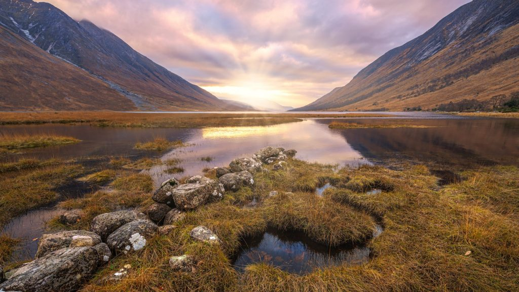 River Etive meets the Loch, near Gualachulain, Scotland, UK