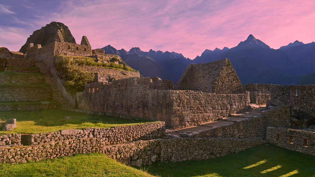Morning in Machu Picchu stone village landscape, Peru