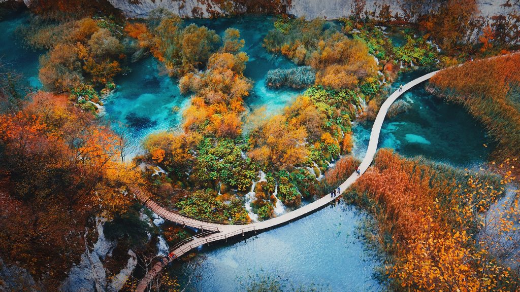 Autumn landscape aerial view in Plitvice Lakes national park, Croatia