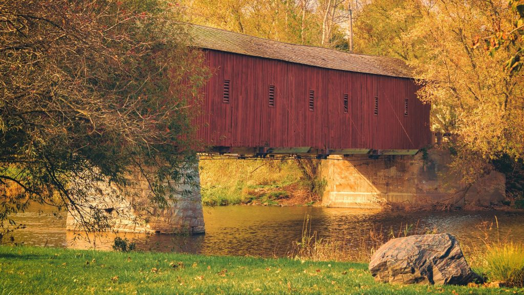 The last covered bridge known as the Kissing Bridge, West Montrose, Ontario, Canada