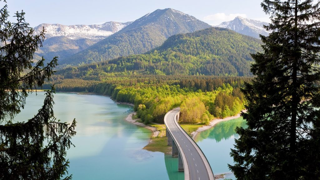 Mountain landscape with forest and bridge, Sylvenstein Lake, Bavaria, Germany