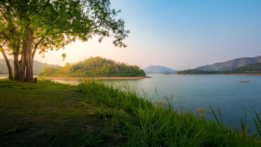 Countryside landscape with mountain and swamp in summer, Phetchaburi, Thailand