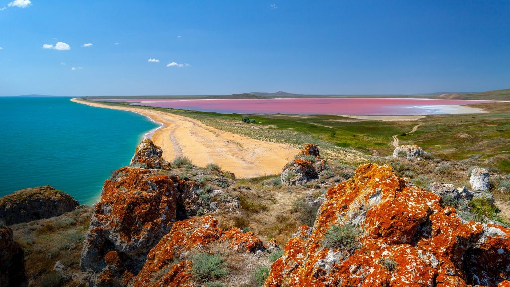 Panoramic view at Pink Lake and sea from mountain, Australia