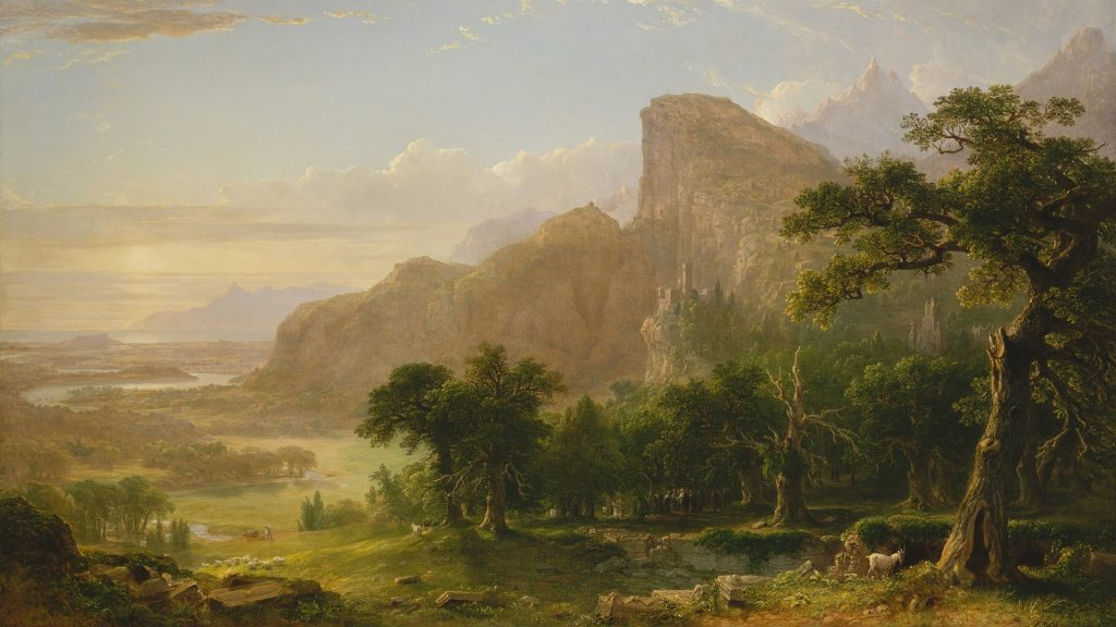 """Landscape - Scene from """"Thanatopsis"""" - painting by Asher Brown Durand, 1850"""