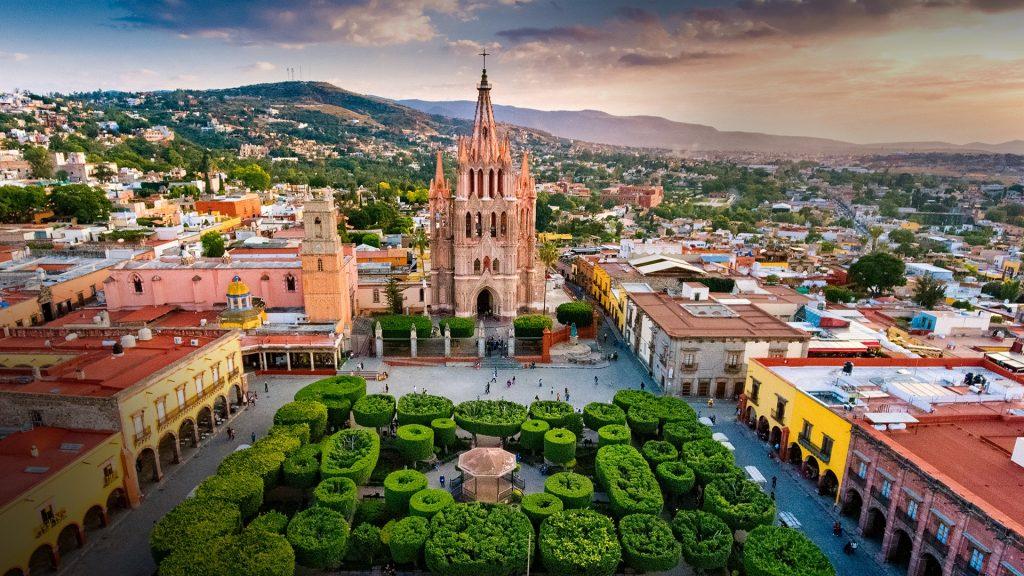 Aerial view of main square in San Miguel de Allende, Guanajuato, Mexico