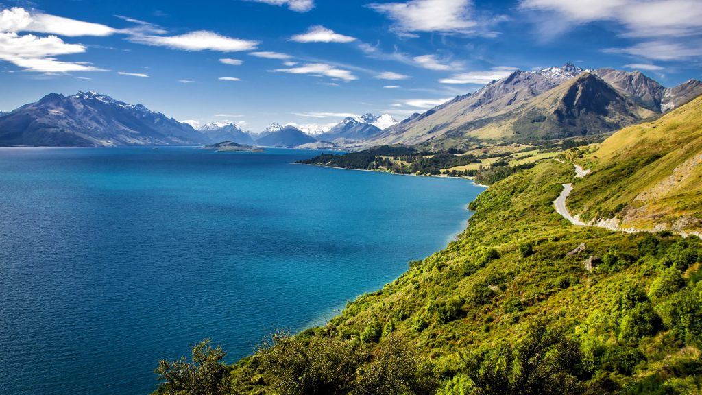 Summer view of Lake Wakatipu and the road from Queenstown to Glenorchy, New Zealand