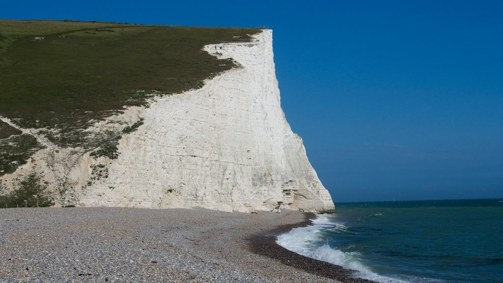 Beach and chalk cliff at Seven Sisters, Sussex, England, UK