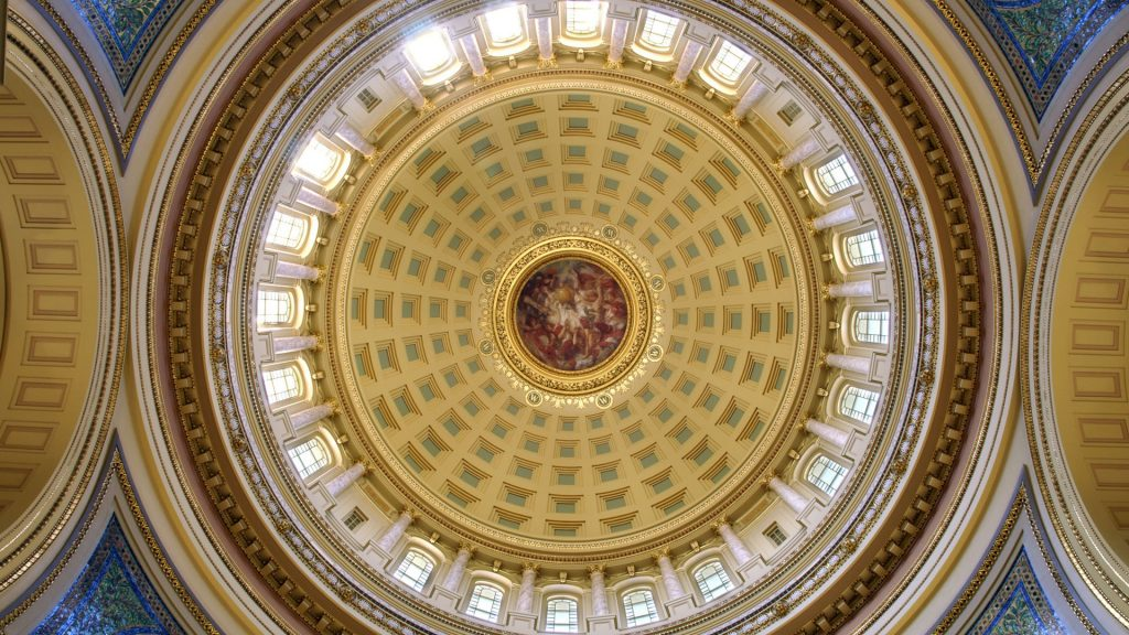 Rotunda dome interior of Wisconsin State Capitol in Madison, Wisconsin, USA