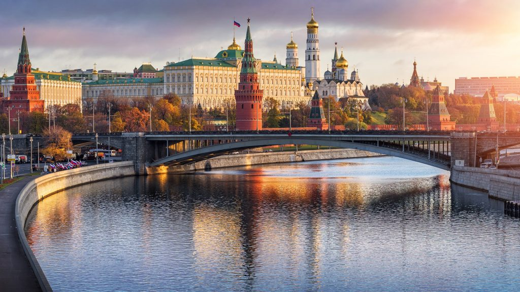An evening view of Moscow Kremlin overlooking the Moskva River to the south, Russia