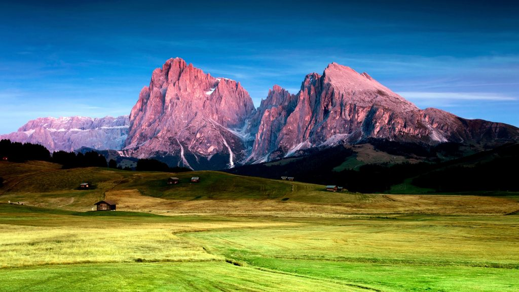Panorama plateau Alpe di Siusi after sunset, South Tyrol, Italy