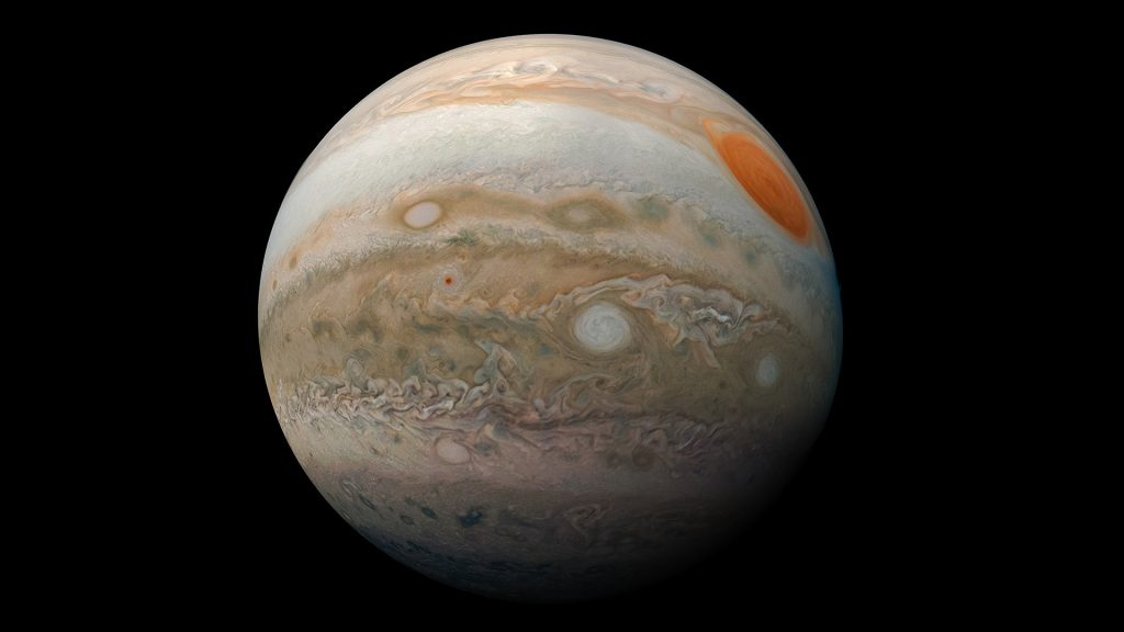 Jupiter's Great Red Spot and turbulent southern hemisphere captured by NASA's Juno spacecraft
