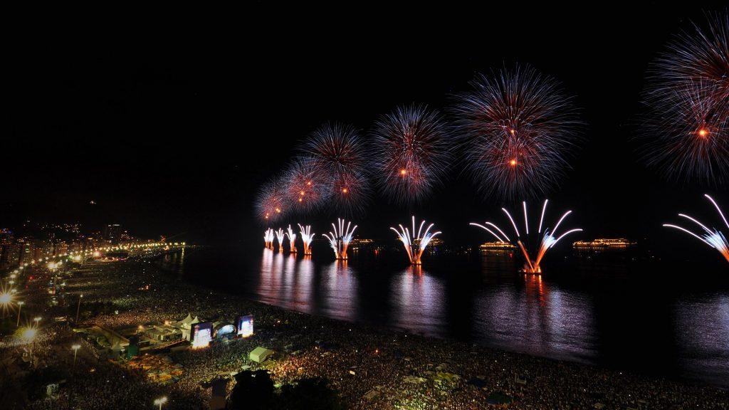 New Year's Eve Party firework on Copacabana beach in Rio de Janeiro, Brazil
