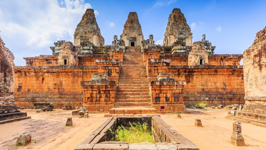 Pre Rup temple cistern and central towers, Angkor Wat, Cambodia